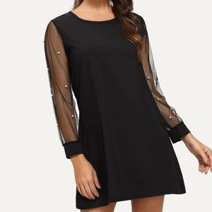 Faux pearl studded mesh sleeve tunic dress